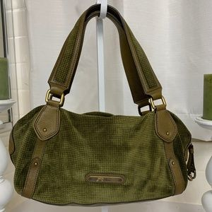 COLE HAAN DK GREEN SUEDE LEATHER HANDLE BARREL BAG